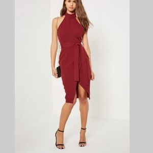 NWT Missguided Burgundy High Neck Dress Size 4